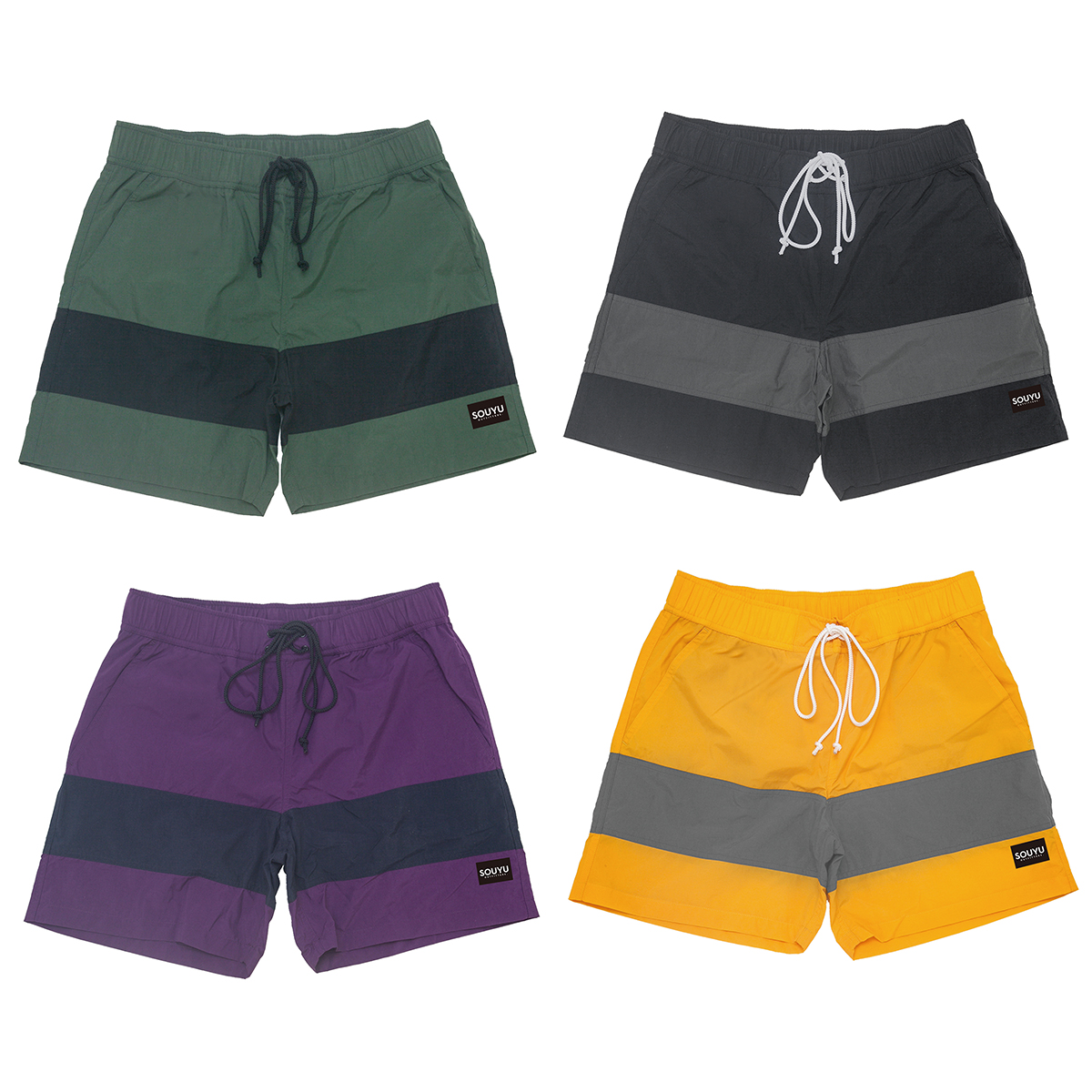 SURF VIBES SHORT サーフバイブスショーツ Number : s20-so-08 Fabric :Nylon 100% Size : XS, S, M, L, XL Color:Olive × Black, Black × Gray, Purple × Navy, Yellow × Gray Price : ¥11,800